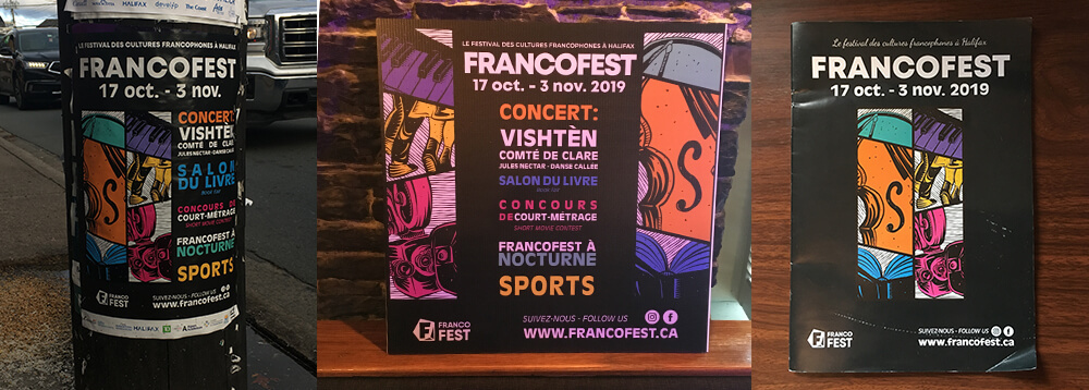 collage of images, one is of the francofest poster featuring the illustrations, the second is a poster board at events using the illustrations differently, third is a booklet with the illustrations on the front