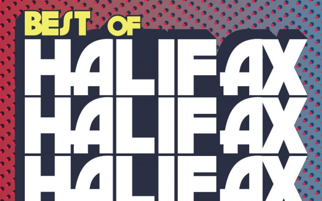 Bold 70s inspired typography with flashy colours showcasing the wordmark for Best of Halifax 2018