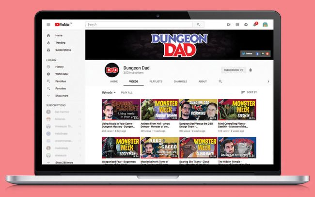 Laptop showcasing Youtube Thumbnail template design and channel banner and icon design