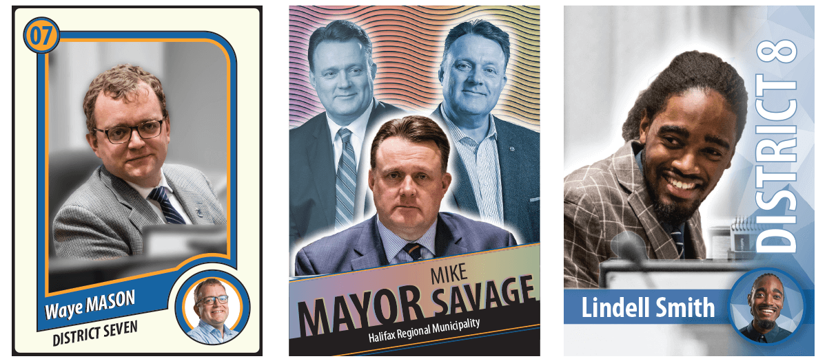 Three Stylized Parody hockey card designs featuring political members graphic overlays special typography and holographic features