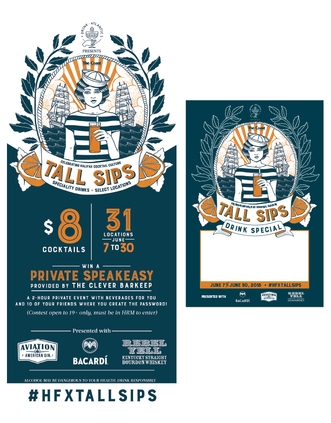 Tall Sips print design and tent card layout