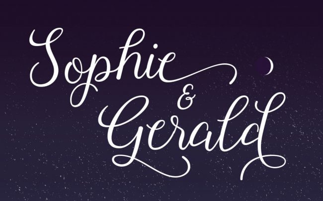 Cursive text sits on top of an illustrative sky used on a wedding invite card design