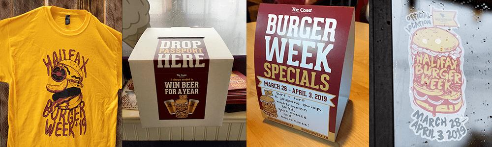 Halifax Burger Week Tshirt design, ballot box, tent card and store sticker on location.