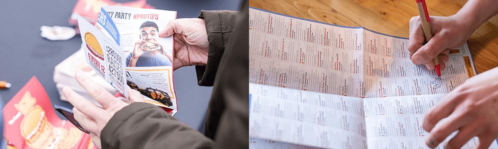 Halifax Burger Week Passport being used showing off functional layout design