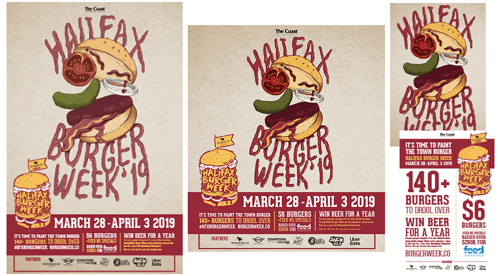Halifax Burger Week poster design, print ad and postcard design
