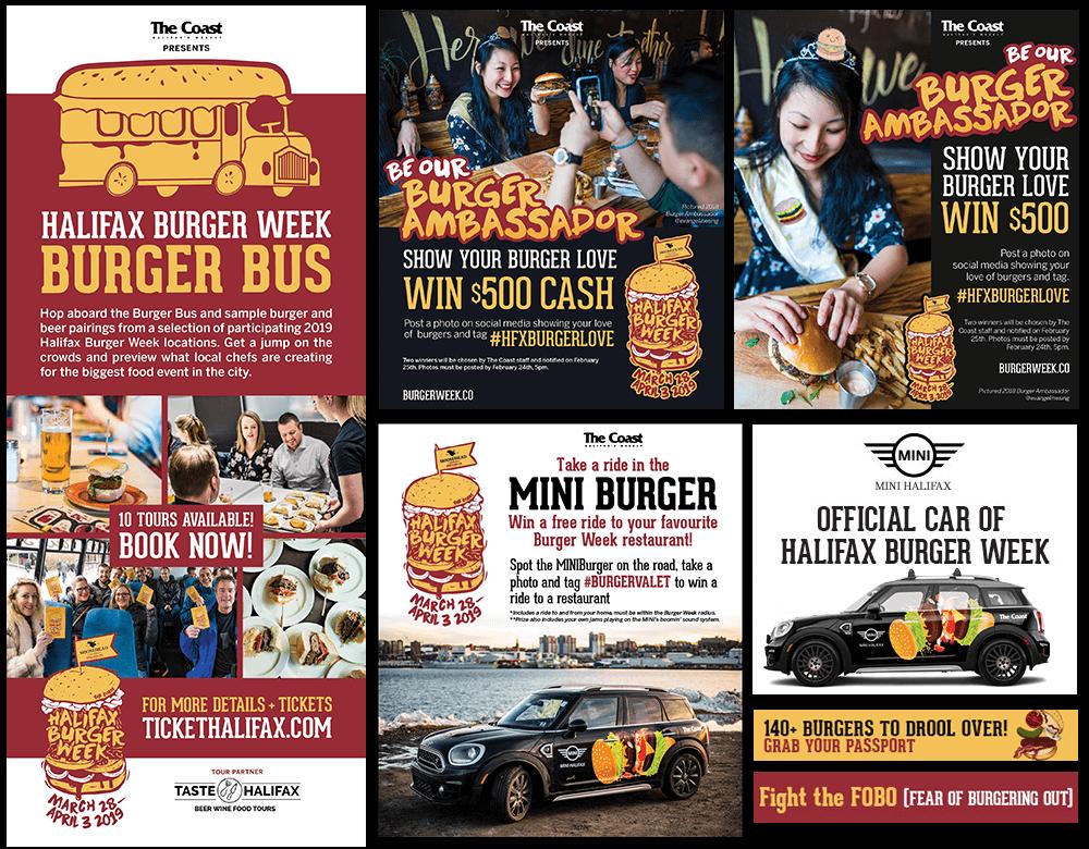Digital and print advertisement for Halifax Burger Week 2019